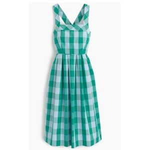J. Crew Green Gingham Sun Midi Pockets Sz 6